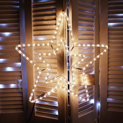 Χριστουγεννιάτικο Αστέρι Διπλό με Πρόγραμμα 2μ Φωτοσωλήνα Λευκό!