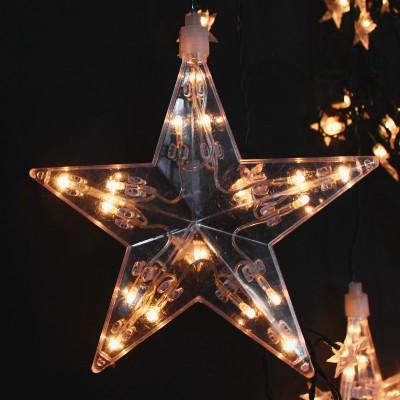 Κουρτίνα με Μεγάλα και μικρά Αστέρια Λευκό Επεκτεινόμενα Χριστουγεννιάτικα