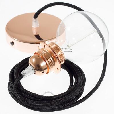 Κρεμαστό Φωτιστικό, κρεμαστή λάμπα με Μαύρο Υφασμάτινο Καλώδιο RM04