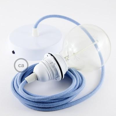 Κρεμαστό Φωτιστικό, κρεμαστή λάμπα με Γαλάζιο Υφασμάτινο Καλώδιο Βαμβάκι RC53