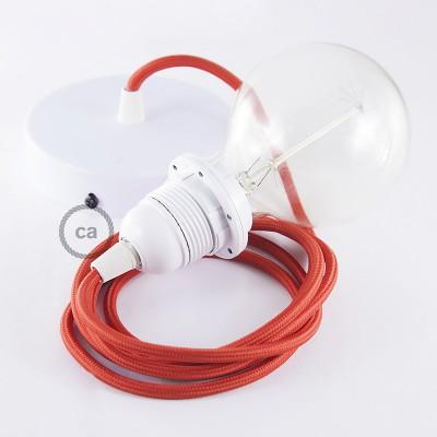 Κρεμαστό Φωτιστικό, κρεμαστή λάμπα με Κόκκινο Υφασμάτινο Καλώδιο RM09