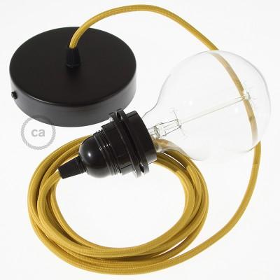 Κρεμαστό Φωτιστικό, Κρεμαστή Λάμπα με Μουσταρδί Υφασμάτινο Καλώδιο Βαμβάκι RM25