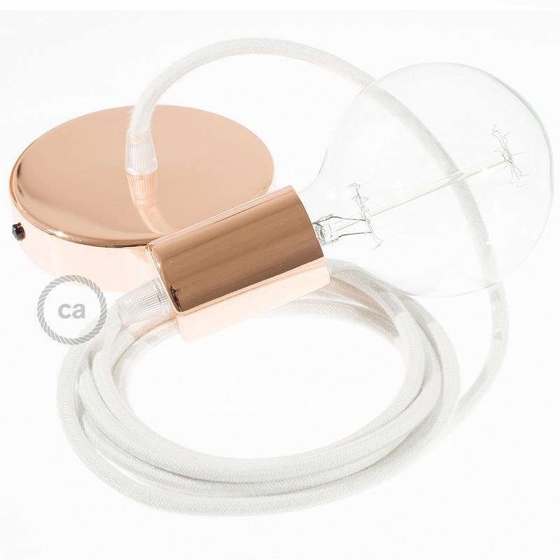 Κρεμαστό Φωτιστικό, κρεμαστή λάμπα με Λευκό Υφασμάτινο Καλώδιο Βαμβάκι RC01