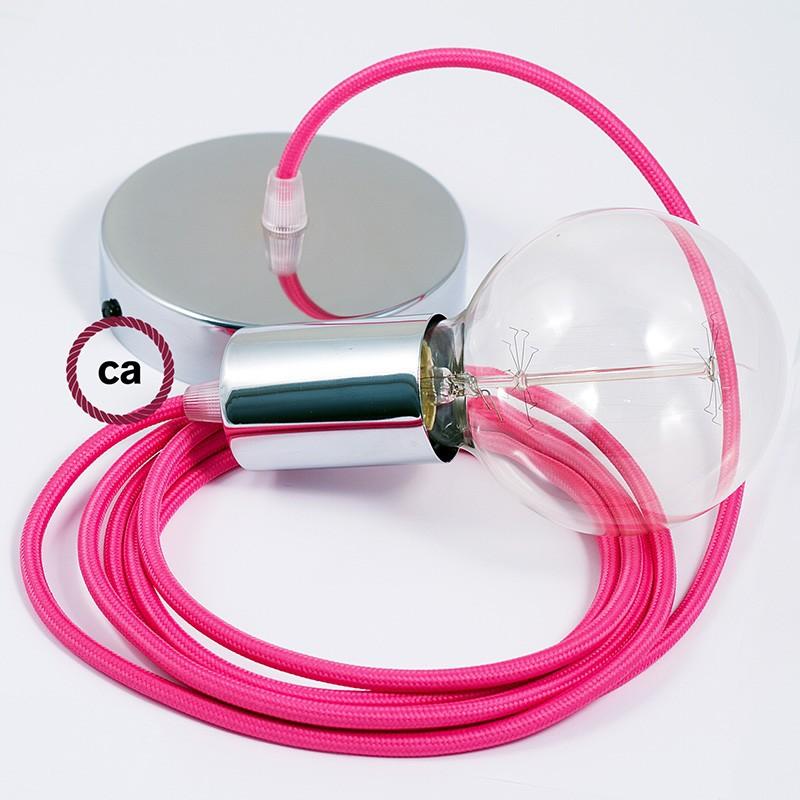 Κρεμαστό Φωτιστικό, κρεμαστή λάμπα με Φούξια Υφασμάτινο Καλώδιο RM08