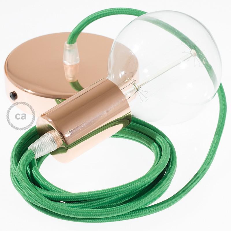 Κρεμαστό Φωτιστικό, κρεμαστή λάμπα με Πράσινο Υφασμάτινο Καλώδιο RM06