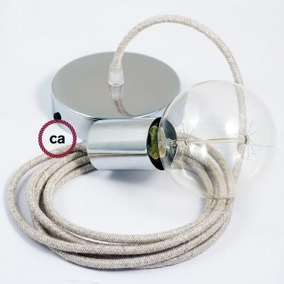Κρεμαστό Φωτιστικό, κρεμαστή λάμπα με Μπεζ Λινό Υφασμάτινο Καλώδιο RN01