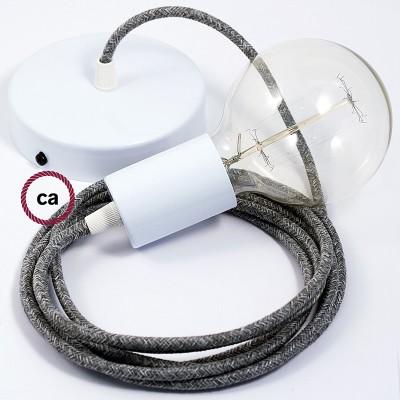 Κρεμαστό Φωτιστικό, κρεμαστή λάμπα με Γκρί Λινό Υφασμάτινο Καλώδιο RN02