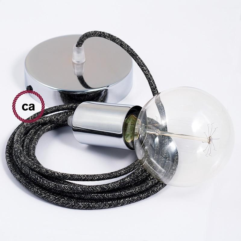 Κρεμαστό Φωτιστικό, κρεμαστή λάμπα με Ανθρακί Λινό Υφασμάτινο Καλώδιο RN03