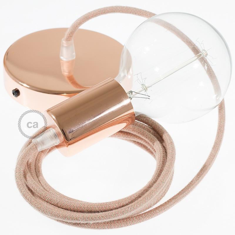 Κρεμαστό Φωτιστικό, Κρεμαστή Λάμπα με Ροζ&Μπεζ Ψαροκόκκαλο Υφασμάτινο Καλώδιο RD71