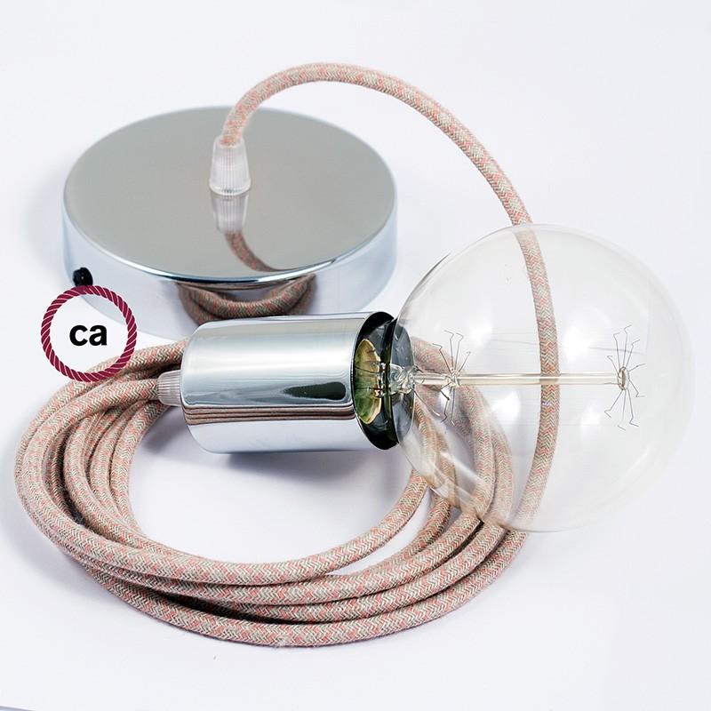 Κρεμαστό Φωτιστικό, Κρεμαστή Λάμπα με Ροζ&Μπεζ Σταυρωτό Υφασμάτινο Καλώδιο RD61