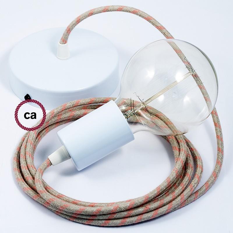 Κρεμαστό Φωτιστικό, Κρεμαστή Λάμπα με Ροζ&Μπεζ Ρίγες Υφασμάτινο Καλώδιο RD51