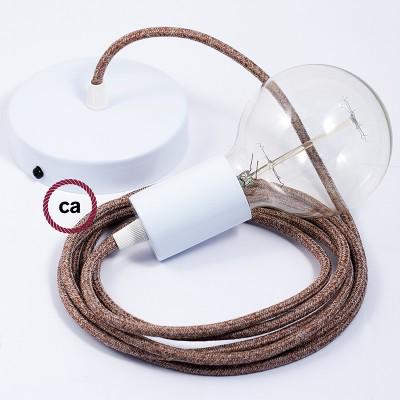 Κρεμαστό Φωτιστικό, Κρεμαστή Λάμπα με Καφέ Γυαλιστερό Υφασμάτινο Καλώδιο RS82