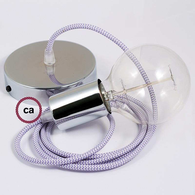 Κρεμαστό Φωτιστικό, Κρεμαστή Λάμπα με Ψαροκόκκαλο Λιλά Υφασμάτινο Καλώδιο RZ07