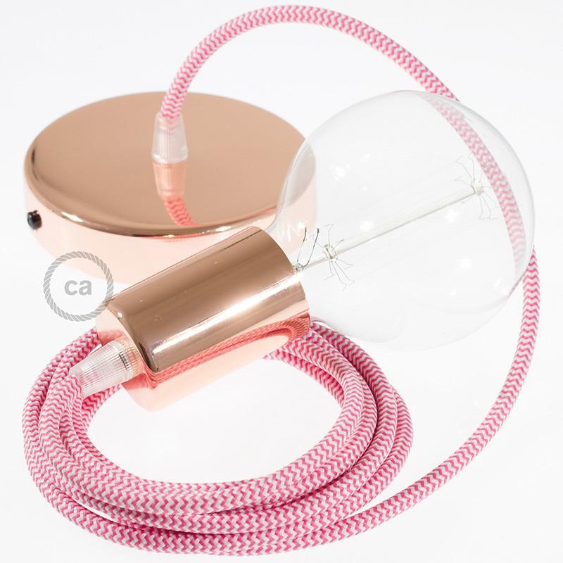 Κρεμαστό Φωτιστικό, Κρεμαστή Λάμπα με Ψαροκόκκαλο Φούξια Υφασμάτινο Καλώδιο RZ08