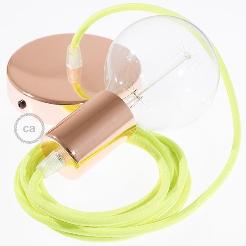Κρεμαστό Φωτιστικό, Κρεμαστή Λάμπα με Πορτοκαλί Fluo Υφασμάτινο Καλώδιο RF10