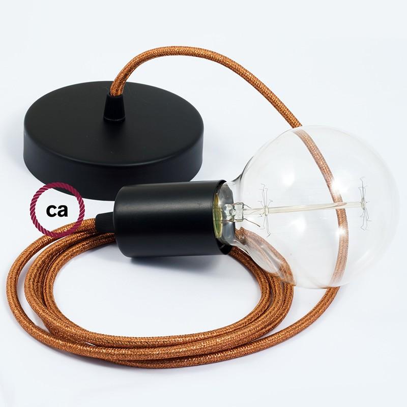 Κρεμαστό Φωτιστικό, Κρεμαστή Λάμπα με Χάλκινο Glitter Υφασμάτινο Καλώδιο RL22