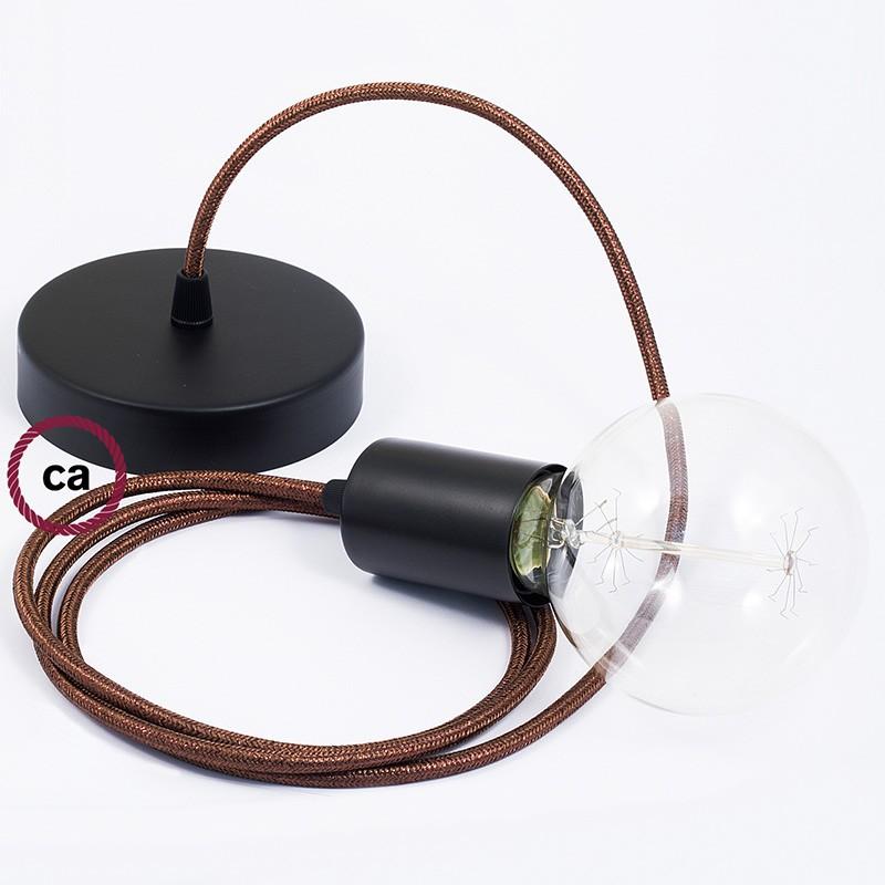Κρεμαστό Φωτιστικό, Κρεμαστή Λάμπα με Καφέ Glitter Υφασμάτινο Καλώδιο RL13