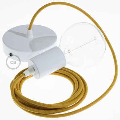 Κρεμαστό Φωτιστικό, Κρεμαστή Λάμπα με Χρυσό-Μελί Υφασμάτινο Καλώδιο Βαμβάκι RC31