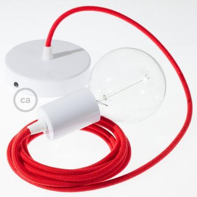 Κρεμαστό Φωτιστικό, Κρεμαστή Λάμπα με Κόκκινο Υφασμάτινο Καλώδιο Βαμβάκι RC35