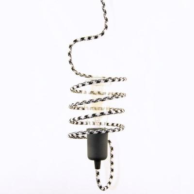 Μαγικό Κλουβί από Καλώδιο με Vintage Λάμπα σε Industrial Design Διχρωμο Μαύρο - Άσπρο