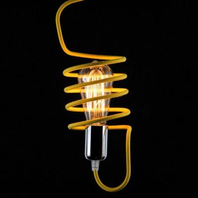 Μαγικό Κλουβί από Καλώδιο με Vintage Λάμπα σε Industrial Design Κίτρινο Χρώμα