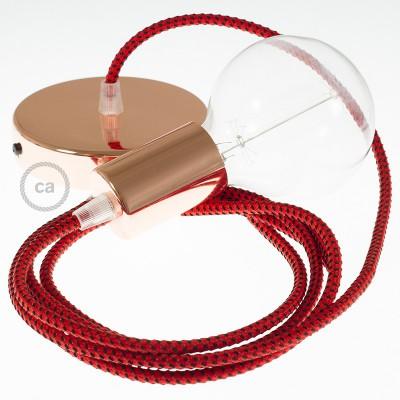 Κρεμαστό Φωτιστικό, κρεμαστή λάμπα με Υφασμάτινο Κόκκινη Λάβα RT94