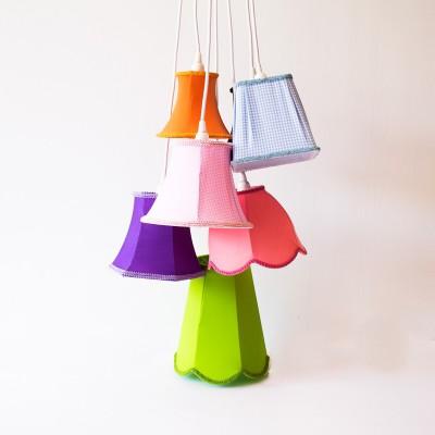 Κρεμαστό Φωτιστικό Μπουκέτο με 7 Υφασμάτινα Αμπαζούρ Χρωματιστά