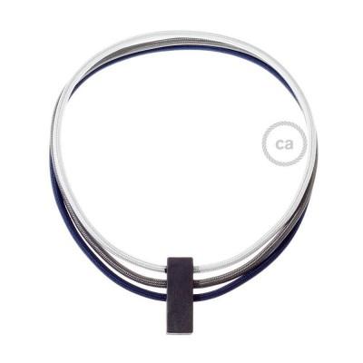 Circles Χειροποίητο Κολιέ με συνδυασμό χρωμάτων Ασημί και Γραφίτης RM02 & RM26 και Σκούρο Μπλε RM20.