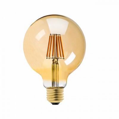 LED Γλόμπος Φ125mm E27 6W Dimmable Gold Glass με νήμα