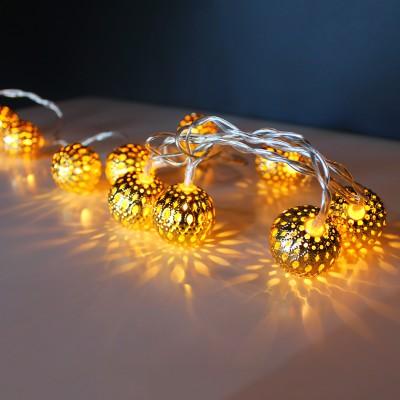 Σετ Φωτιζόμενες Διακοσμητικές Mπάλες 10L Χρυσό WW
