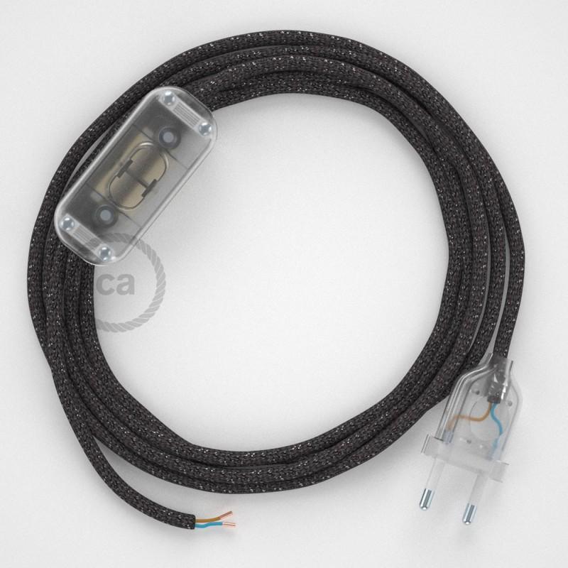 Υφασματινο καλώδιο πορτατίφ Λαμέ Γκρι RL03 - 1.80 m.