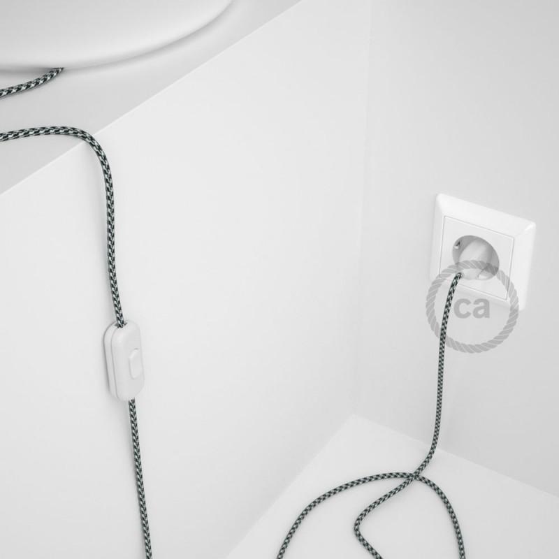 Υφασματινο καλώδιο πορτατίφ Δίχρωμο Άσπρο-Μαύρο RP04 - 1.80 m.