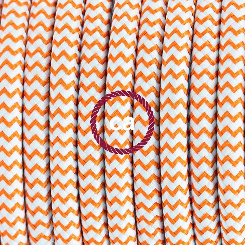 Υφασματινο καλώδιο πορτατίφ Zig Zag Άσπρο-Πορτοκαλί RZ15 - 1.80 m.
