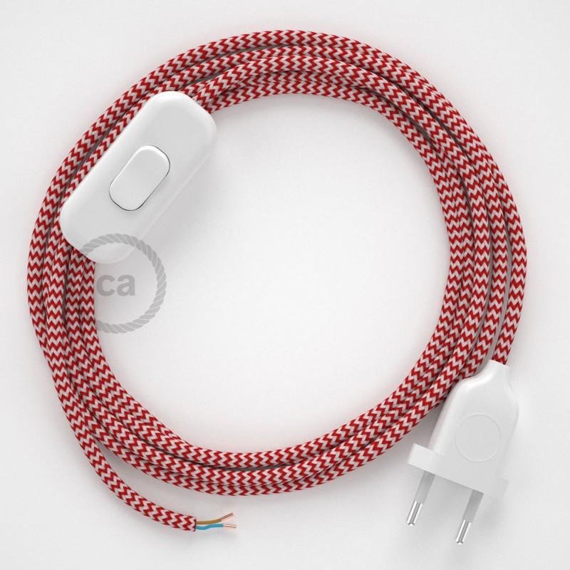Υφασματινο καλώδιο πορτατίφ Zig Zag Άσπρο-Κόκκινο RZ09 - 1.80 m.