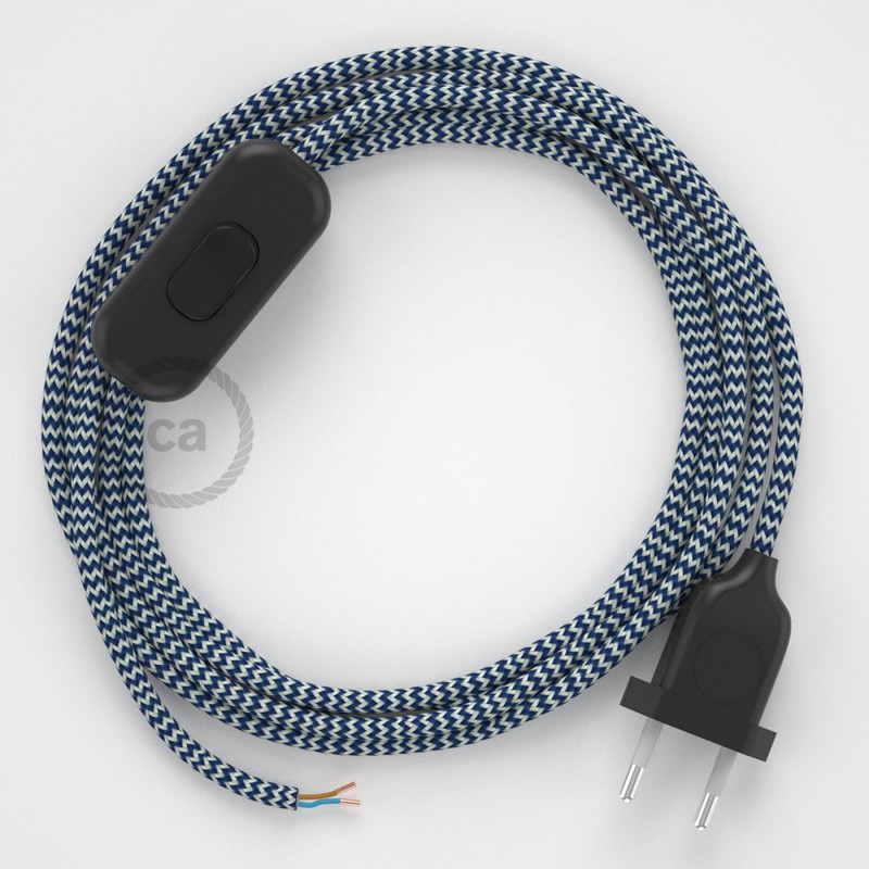 Υφασματινο καλώδιο πορτατίφ Zig Zag Άσπρο-Μπλε RZ12 - 1.80 m.