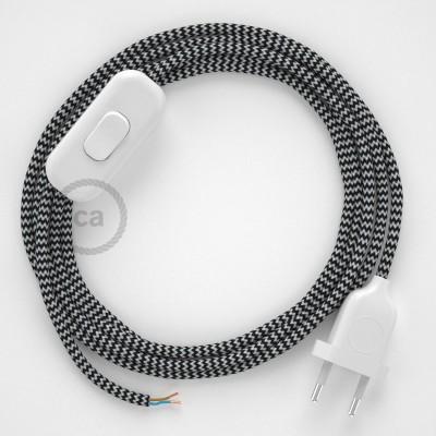 Υφασματινο καλώδιο πορτατίφ Zig Zag Άσπρο-Μαύρο RZ04 - 1.80 m.