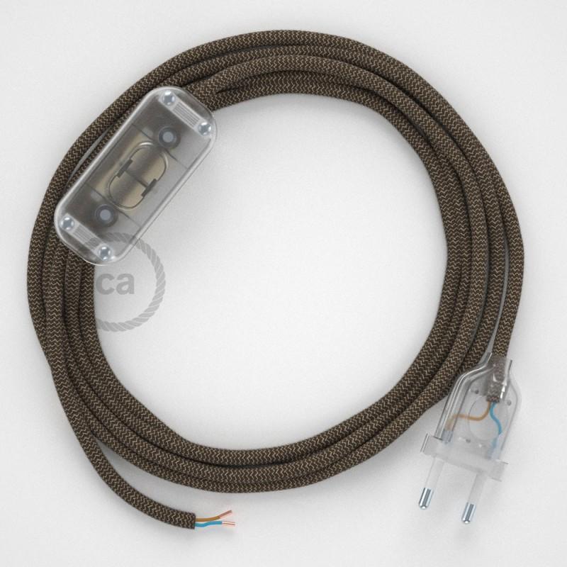 Υφασματινο καλώδιο πορτατίφ Zig Zag μπεζ λινό και καφέ βαμβάκι RD73 - 1.80 m.