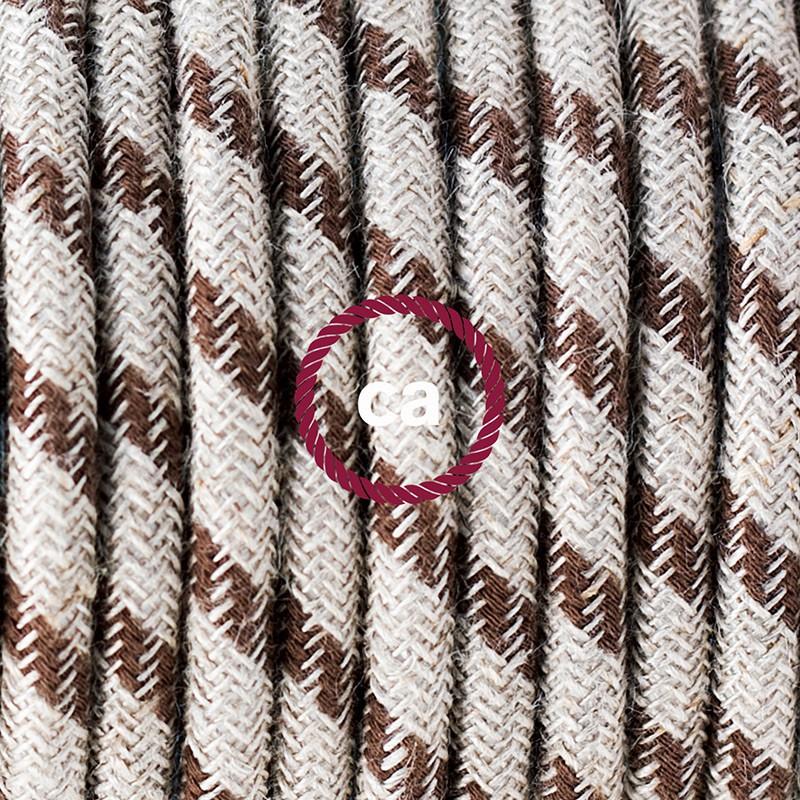 Υφασματινο καλώδιο πορτατίφ Stripes μπεζ λινό και καφέ βαμβάκι RD53 - 1.80 m.