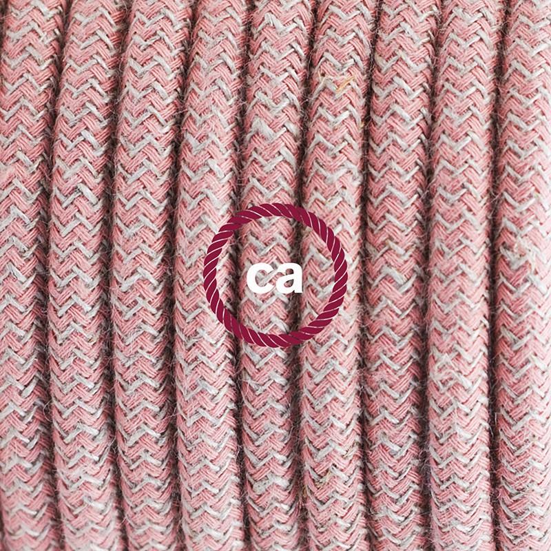 Υφασματινο καλώδιο πορτατίφ Zig Zag μπεζ λινό και ροζ βαμβάκι RD71 - 1.80 m.