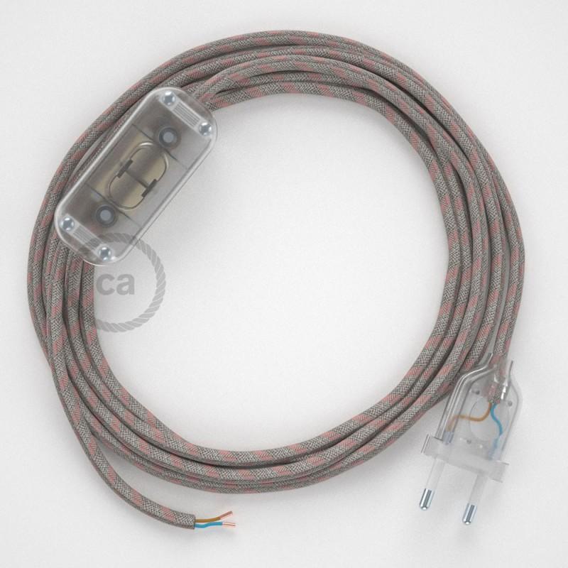 Υφασματινο καλώδιο πορτατίφ Stripes μπεζ λινό και ροζ βαμβάκι RD51 - 1.80 m.