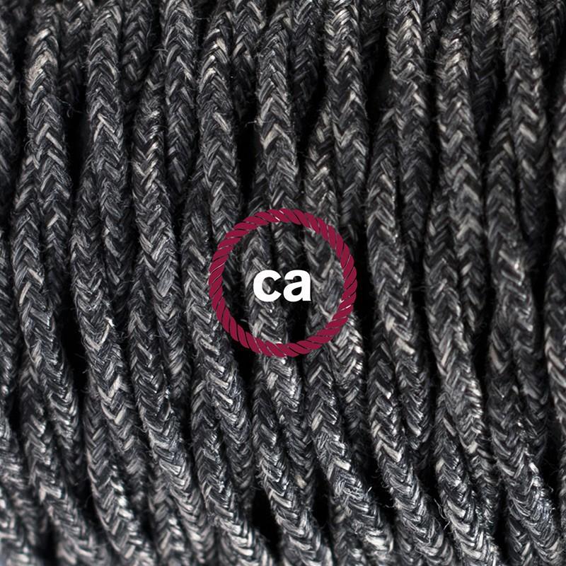 Στριφτό Υφασμάτινο Καλώδιο, Φυσικό Ανθρακί Μάλλινο TN03 - 1.80 m.