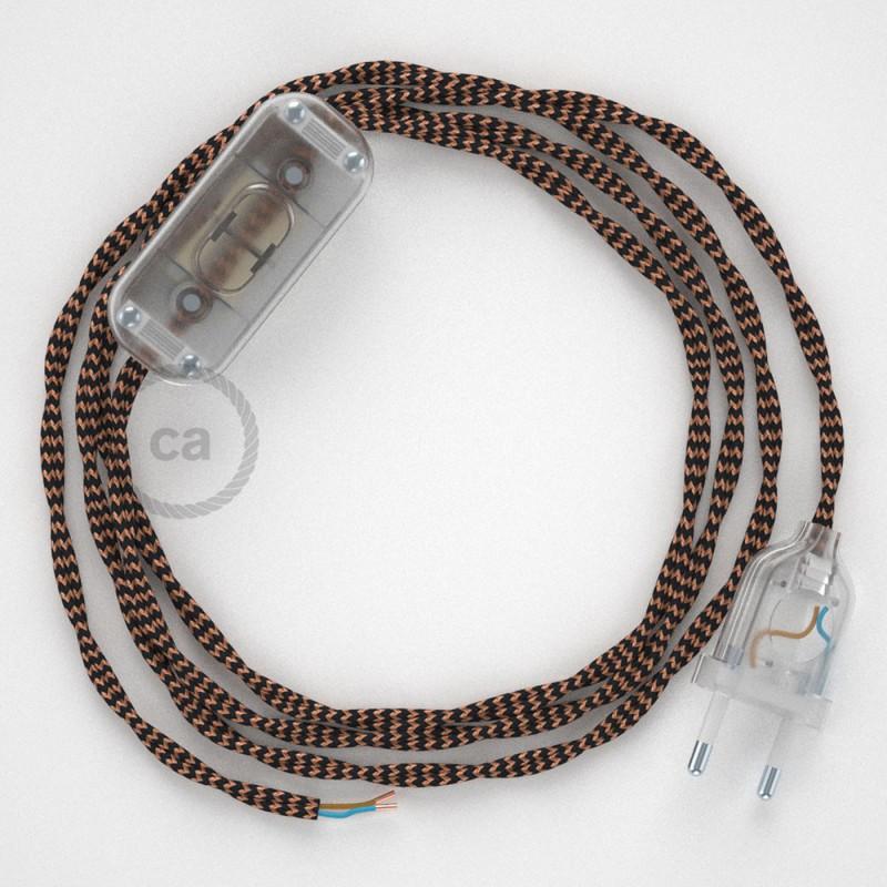 Στριφτό Υφασμάτινο Καλώδιο, Μαύρο - Χάλκινο TZ22 - 1.80 m.