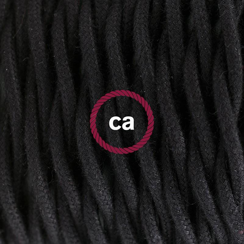 Στριφτό Υφασμάτινο Καλώδιο, Μαύρο Βαμβάκι TC04 - 1.80 m.