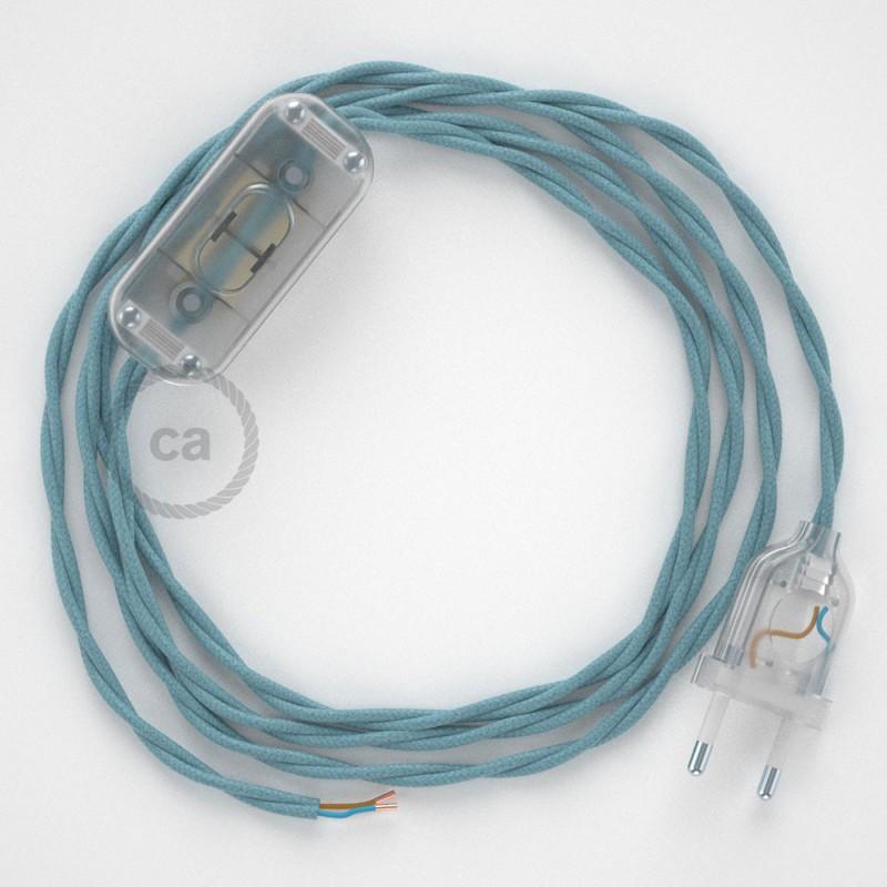 Στριφτό Βαμβακερό Καλώδιο, RC53 Φυσικό Γαλάζιο - 1.80 m.