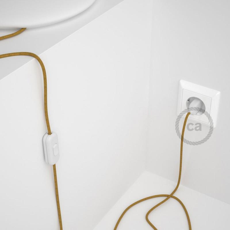 Υφασματινο καλώδιο πορτατίφ Γυαλιστερό Χρυσό RL05 - 1.80 m.
