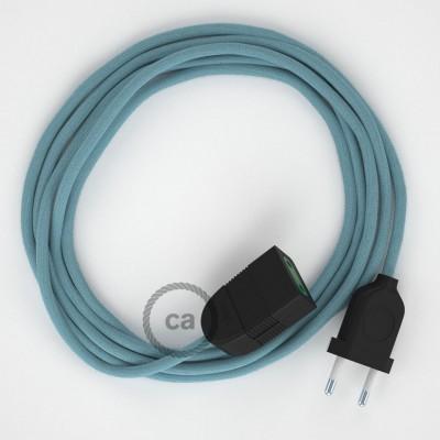 Προέκταση Διπολική με Απαλό Γαλάζιο Υφασμάτινο Καλώδιο από Βαμβάκι RC53. Made in Italy