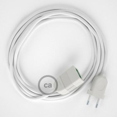 Προέκταση Διπολική με Λευκό Υφασμάτινο Καλώδιο από Ραιγιόν Μετάξι RM01. Made in Italy