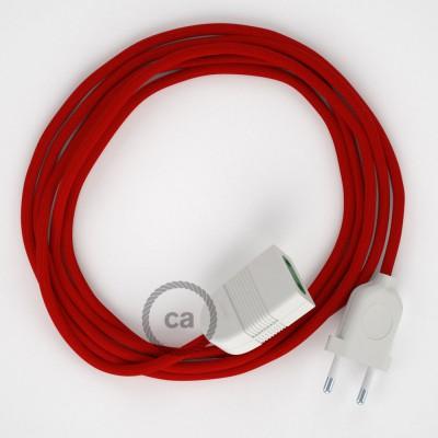 Προέκταση Διπολική με Κόκκινο Υφασμάτινο Καλώδιο από Ραιγιόν Μετάξι RM09. Made in Italy