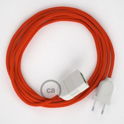 Προέκταση Διπολική με Πορτοκαλί Υφασμάτινο Καλώδιο από Ραιγιόν Μετάξι RM15. Made in Italy