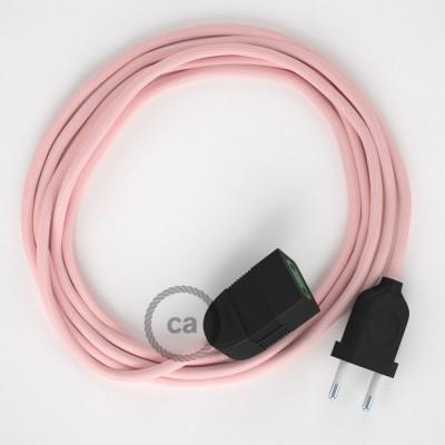 Προέκταση Διπολική με Απαλό Ροζ Υφασμάτινο Καλώδιο από Ραιγιόν Μετάξι RM16. Made in Italy